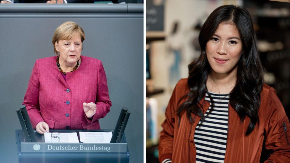 Angela Merkel (l.) bei ihrer Regierungserklärung im Bundestag und Wissenschaftsjournalistin Mai Thi Nguyen-Kim