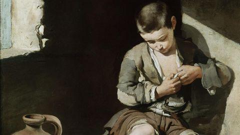 Bettelnder Knabe von Bartolome Esteban Murillo (1618-1682) um 1645. Öl auf Leinwand, 137 x 115 cm. Inv.Nr. 933 Paris, Musee du Louvre.