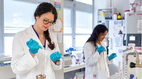Laborarbeit Covid-19 an der Frankfurter Universität am Riedberg mit Chemie-Doktorandin Katharina Hohmann