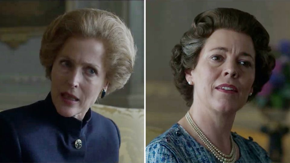 "Margaret Thatcher und die Queen in ""The Crown"""