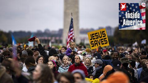Evangelikale Christen am vergangenen Wochenende auf einemKonzertvor demWashington-Monument