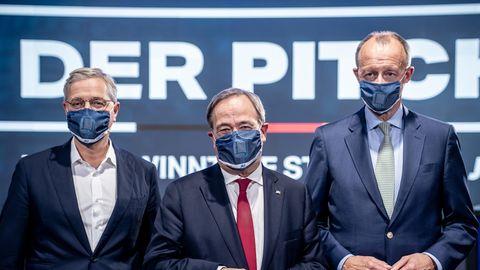Die drei Kandidaten für den Bundesvorsitz der CDU:Norbert Röttgen, Armin Laschet und Friedrich Merz (v.l.n.r.)