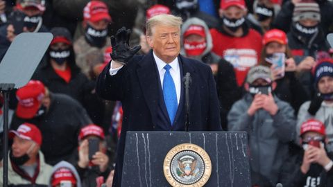 US-Präsident Donald Trump bei einer Wahlkampfkundgebung in Lansing im Bundesstaat Michigan