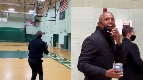 Barack Obama zeigt sein Basketball-Talent mit einem mühelosen Drei-Punkte-Wurf.