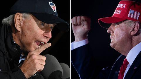 Joe Biden (l.) und Donald Trump reden bei Wahlkampfauftritten zu ihren Anhängern