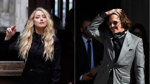 Amber Heard und Johnny Depp im Juli vor dem Gericht in London
