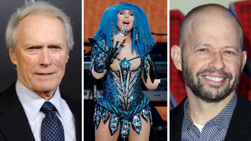 """Clint Eastwood (l.) und """"Two and a half Men""""-Darsteller Jon Cryer wechseln ins Lager von Joe Biden. Sängerin Cher unterstützt seit Jahren die Demokraten."""