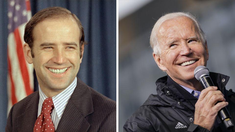 Links lächelt Joe Biden 1972 als junger Senator von Delaware, rechts spricht der weißhaarige Biden 2020 in ein Mikro