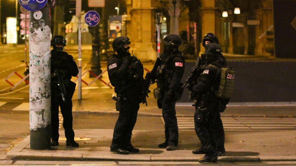 Schwerbewaffnete Polizisten sind in der Wiener Innenstadt im Einsatz