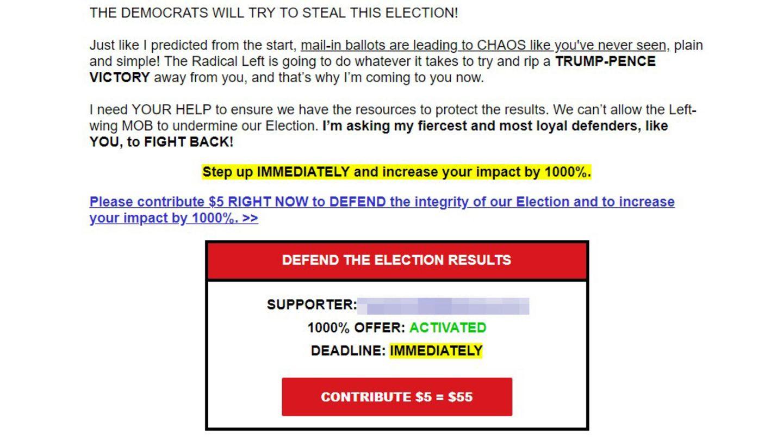 """""""Die Demokraten werden versuchen, die Wahl zu stehlen"""": Nur eine aus einer Flut von E-Mails, die Trumps Wahlkampfteam in den vergangenen Stunden an die Anhänger des Präsidenten verschickt hat"""