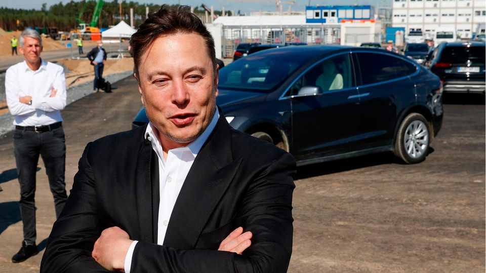 Elon Musk im September in Grünheide