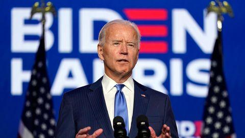 USA, Wilmington: Joe Biden, Präsidentschaftskandidat der Demokratischen Partei und ehemaliger Vizepräsident, hält eine Ansprache