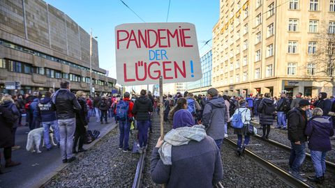 """eilnehmer der """"Querdenken""""-Demo halten ein  Schild mit der Aufschrift """"Pandemie der Lügen"""""""