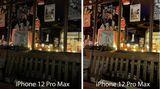 Die Bandbreite ist groß. Links ein Foto des iPhone 12 Pro Max mit deaktiviertem Nachtmodus, rechts mit drei Sekunden Belichtung.