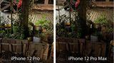 Das iPhone 12 Pro Max benötigt aufgrund des größeren, lichtstärkeren Sensors jedoch häufig eine kürzere Belichtungszeit. Das ist nicht nur praktisch beim Fotografieren, sondern erzeugt auch eine realistischere Lichtstimmung. Denn während das linke Bild aussieht, als wäre der Baum zusätzlich von einem Scheinwerfer angestrahlt worden, ist die nächtliche Szenerie rechts besser erkennbar, ohne dass Details verschluckt werden.
