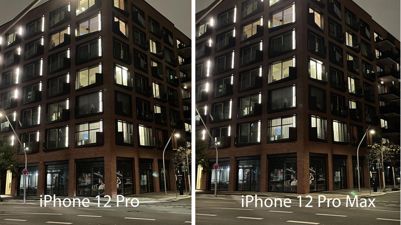 In der Nacht unterwegs in der Hamburger Hafencity. Und im direkten Vergleich wird klar: Bei Situationen wie diesen gibt es kaum Unterschiede zwischen dem iPhone 12 Pro und dem iPhone 12 Pro Max.
