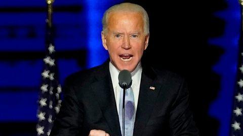 Joe Biden während seiner Siegesrede in Wilmington am Samstagabend