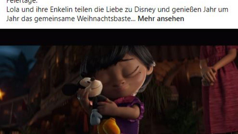 Ein Screenshot des Disney Posts zeigt Text und ein Bild des Werbespots.