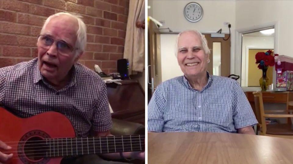 Links spielt ein alter Mann mit Halbglatze Gitarre, rechts sitzt er an einem Tisch und lacht