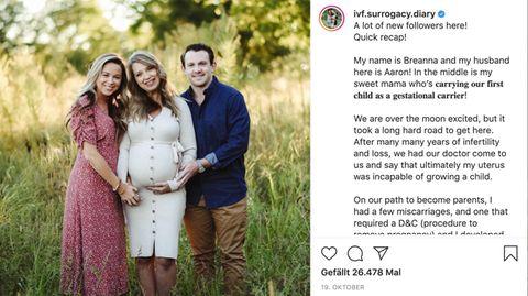 Breanna Lockwood und ihr Mann mit ihrer schwangeren Mutter