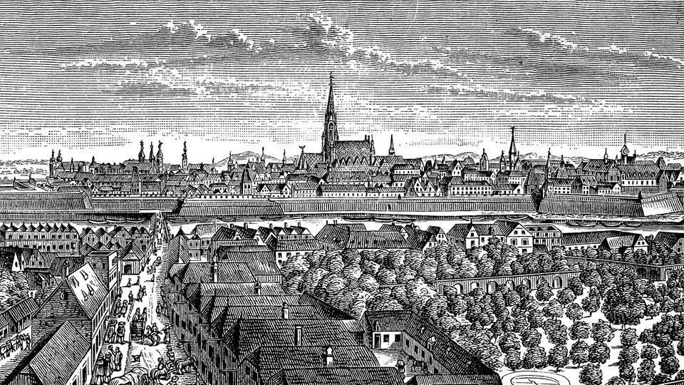 Schwarz-weiß Illustration der Stadt Wien