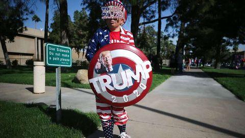 Nicht jeder wollte bei den Wahlensofort als Trump-Unterstützer erkannt werden – dieser Mann schon.