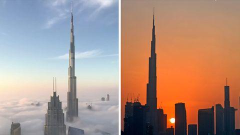 Links ist die Spitze des Burj Khalifa über den Wolken zu sehen, rechts die Kontur vor einem Sonnenuntergang