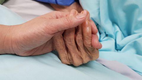 Die Hände einer älteren und einer jüngeren Person berühren sich