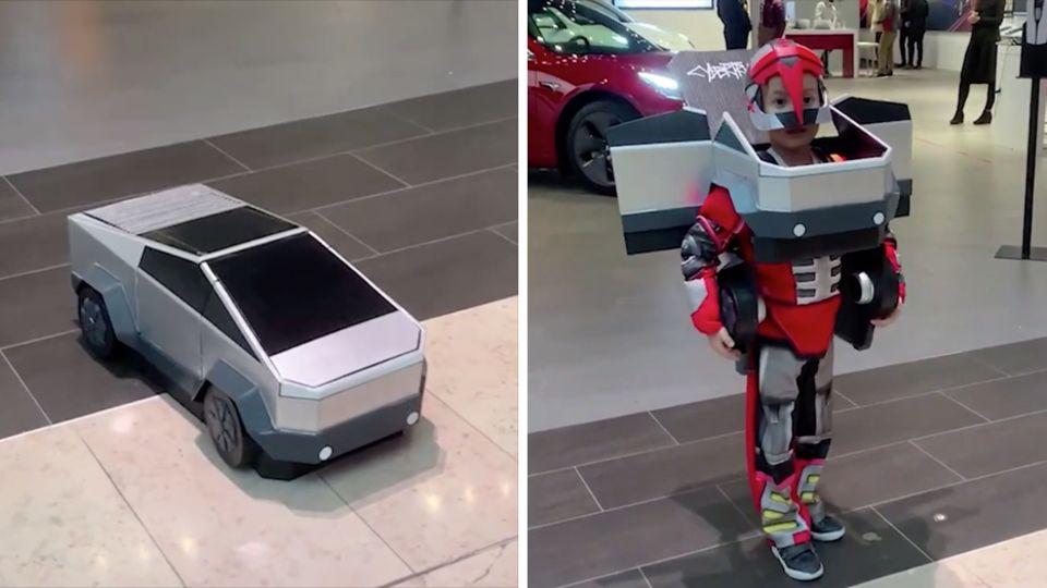 """Links steht ein Modell des Tesla Cybertruck auf dem Boden, rechts steht ein Junge im """"Transformers""""-Outfit"""