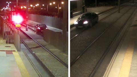 Video Betrunkene fährt auf Gleise und ihn Bahnhof