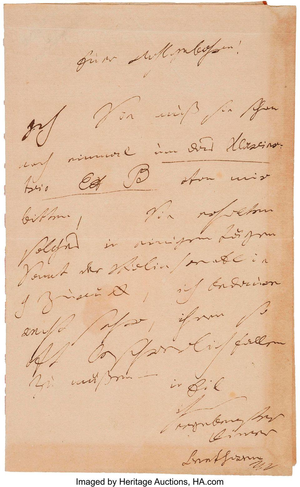 Ein Brief des Komponisten Ludwig van Beethoven