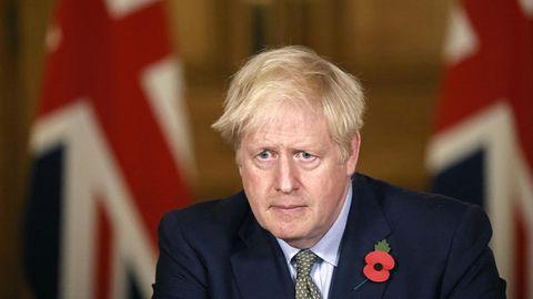 Boris Johnson, Premierminister von Großbritannien, während einer Pressekonferenz in der Londoner Downing Street