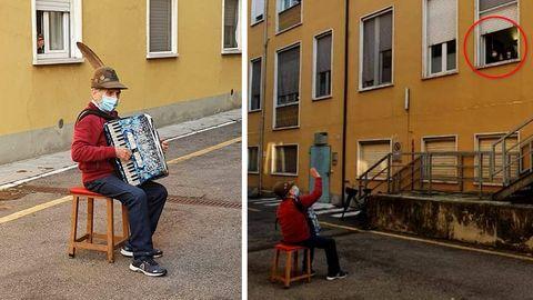 81-jähriger Italiener spielt seiner Frau Ständchen vor dem Krankenhaus
