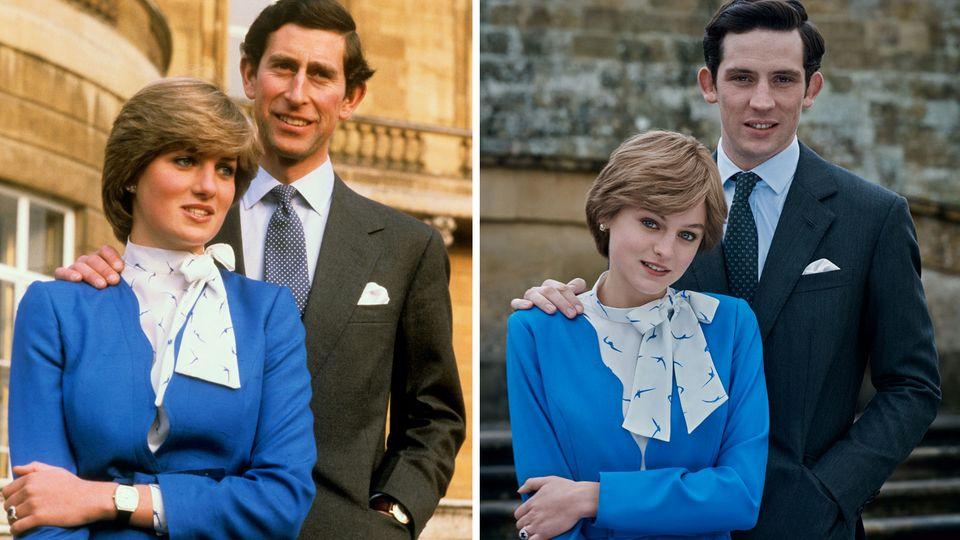 """Original und Filmszene: links Charles und Diana 1981 kurz nach der Bekanntgabe ihrer Verlobung. Rechts die SchauspielerJosh O'Connor und Emma Corrin in """"The Crown""""."""