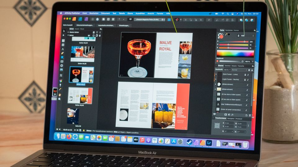 Die Layout-Software Affinity Publisher läuft ohne Probleme auf dem Macbook Air mit M1-Chip.