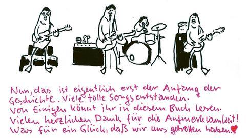 Arne Zank hat die Band als Vögel gezeichnet