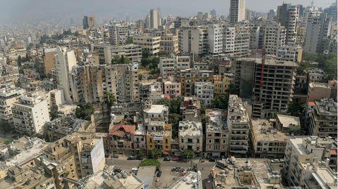 Verwüstete Gebäude in der Nähe des Hafens von Beirut, wo sich am 4. August eine schwere Explosion ereignete