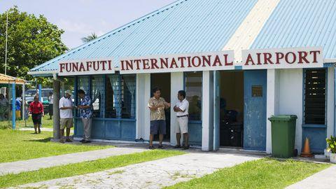 Funafuti, der Hauptstadt des Inselstaats Tuvalu, eines der wenigen Länder