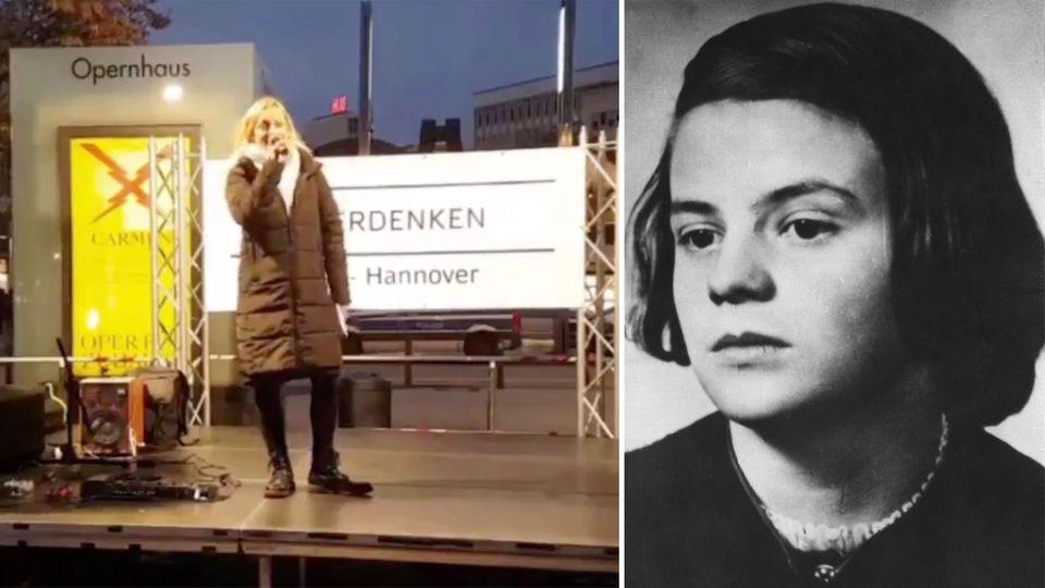"""Hannover: """"Querdenker""""-Rednerin sorgt mir Sophie-Scholl-Vegleich für Empörung"""