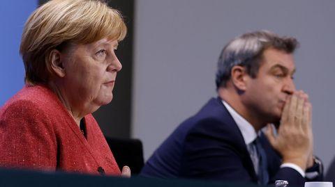 Bundeskanzlerin Merkel und Bayerns Ministerpräsident Söder