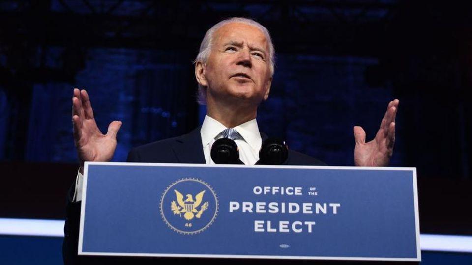 US-Präsident-elect Joe Biden stellt in Wilmington, Delaware, Teile seines Schattenkabinetts vor