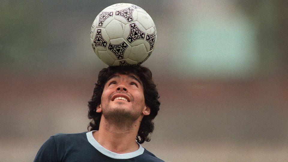 Diego Maradona während einer Trainingseinheit vor der WM 1986, die er mit Argentinien gewann