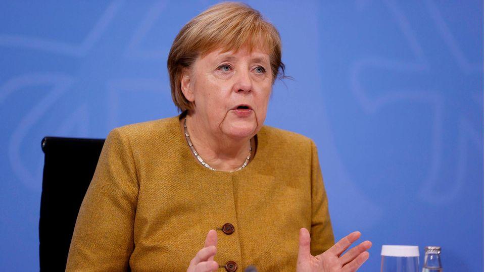 Bundeskanzlerin Angela Merkel erläutert die neuen Corona-Maßnahmen