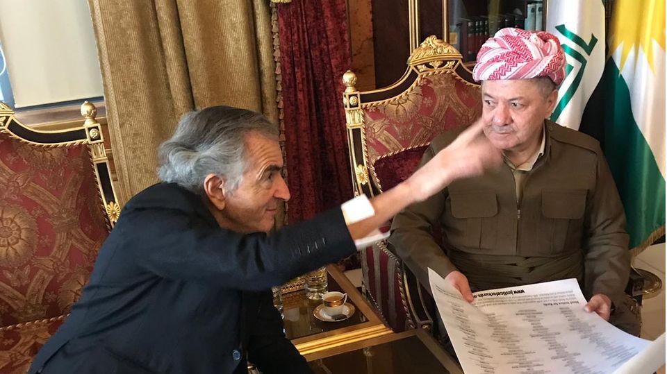 Bernard-Henri Lévy und Masud Barzani, bis 2017 Präsident der Autonomen Region Kurdistan im Nordirak