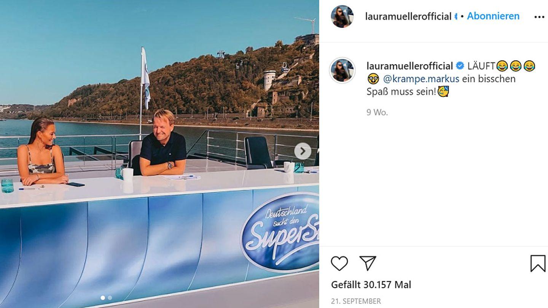 Laura Müller und Markus Krampe bei den Dreharbeiten zu DSDS im September