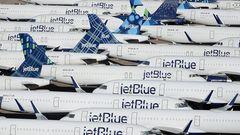 ... werden moderne Jets auch für die Dauer der Corona-Krise im Pinal Airparkvorübergehend eingelagert,wie diese Airbus A320 der US-Billigfluglinie Jetblue. Innerhalb weniger Wochen können die Flugzeuge bei Bedarf reaktiviert werden.