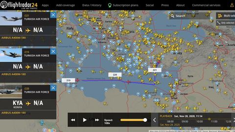 Ein Screenshot der Internetseite Flightradar24