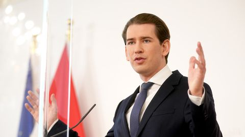 Österreichs Bundeskanzler Sebastian Kurz bei Coronavirus-Pressekonferenz