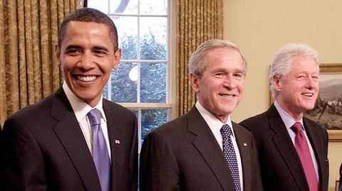 Barack Obama, George W. Bush undBill Clinton (v.l.) wollen sich öffentlich gegen das Coronavirus impfen lassen