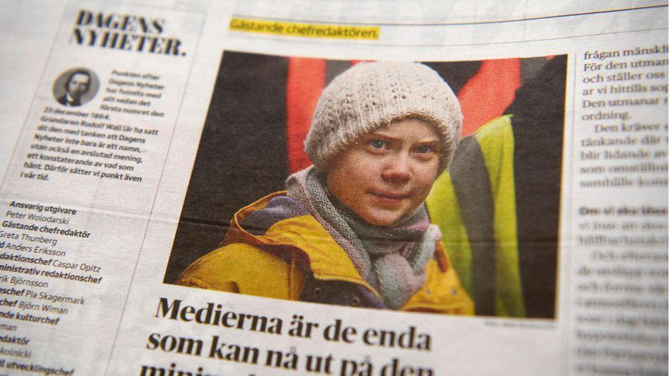 """Thunberg Chefredakteurin bei schwedischer Tageszeitung: Thunberg ziert eine Seite des Zeitung """"Dagens Nyheter"""""""